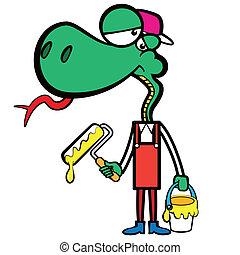 ecset, kígyó, szobafestő, karikatúra