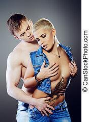 ecstasy - Beautiful passionate couple in love. Love concept.