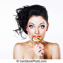 Ecstasy. Funny Peppy Woman with Yummy Lollipop