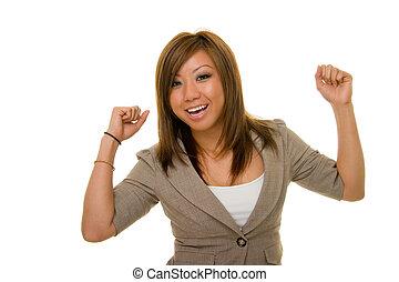 Ecstatic Asian Business Woman - Young Asian woman in...