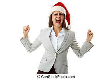 Ecstatic exclamation - Portrait of ecstatic businesswoman in...