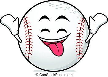 Ecstatic face baseball cartoon character