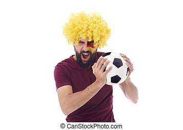 Ecstatic geraman fan with soccer ball