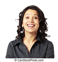 Ecstatic Middle age Latin woman. Very excited gir with her mouth and eyes wide opened looking in front of her isolated on white background