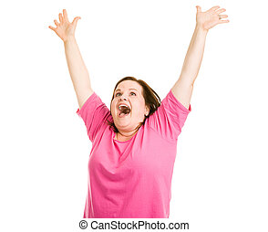 Ecstatic - Pretty plus sized woman raising her arms in...
