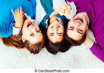 Ecstatic teenagers