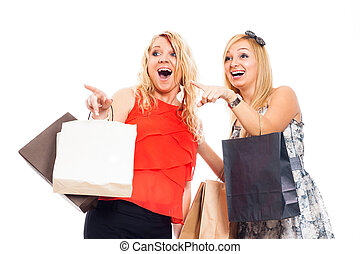 Ecstatic women shopping - Two young attractive blond...