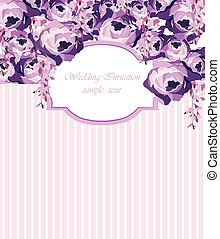 ector Card with Watercolor Rose flowers frame