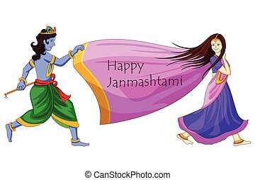 Krishna playing with Radha on Happy Janmashtami background