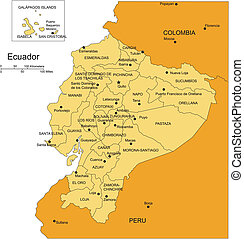 Ecuador, editable vector map broken down by administrative districts includes surrounding countries, in color with cities, district names and capitals, all objects editable. Great for building sales and marketing territory maps, illustrations, web graphics and graphic design. Includes sections of ...