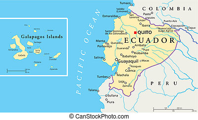 Political map of Ecuador and Galapagos Islands with the capital quito, national borders, most important cities, rivers and lakes. Vector illustration with english labeling and scale.