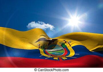 ecuador, bandera nacional, debajo, soleado, cielo