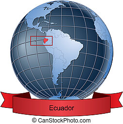Ecuador, position on the globe Vector version with separate...