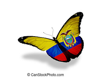 Ecuador flag butterfly flying, isolated on white background