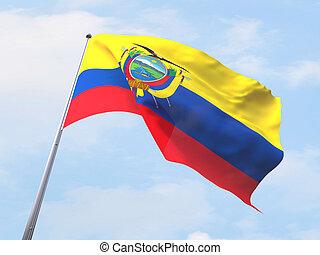 Ecuador flag flying on clear sky.