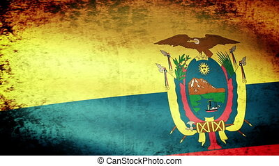Ecuador Flag Waving, grunge look