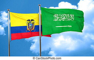 Ecuador flag with Saudi Arabia flag, 3D rendering