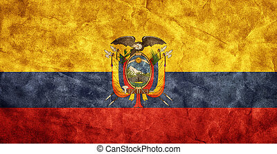 Ecuador grunge flag. Item from my vintage, retro flags collection