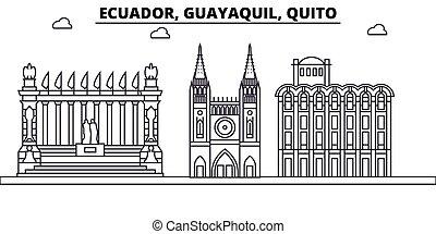 Ecuador, Guayaquil, Quito architecture skyline: buildings, silhouette, outline landscape, landmarks. Editable strokes. Flat design line banner, vector illustration concept.