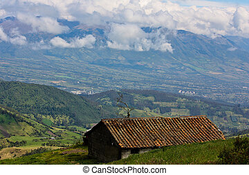 Ecuador Highlands view - Mountainview outlook over pastures...