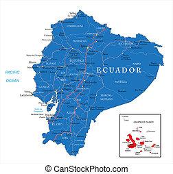 Ecuador map - Highly detailed vector map of Ecuador with ...