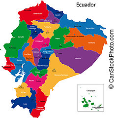 Ecuador map - Map of the Republic of Ecuador with the...
