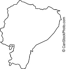 Ecuador map of black contour curves of vector illustration