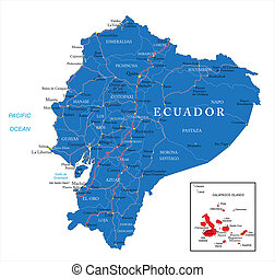 Ecuador map - Highly detailed vector map of Ecuador with...