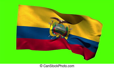 Ecuador national flag blowing in the breeze on green screen...