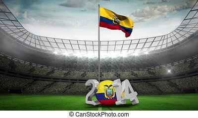 Ecuador national flag waving in football stadium with 2014...