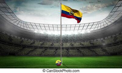 Ecuador national flag waving on flagpole in football stadium...