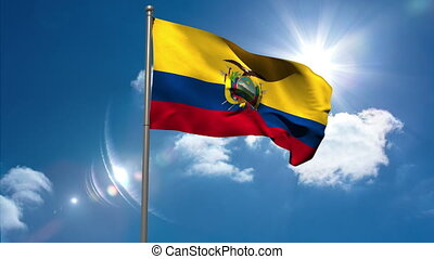 Ecuador national flag waving on flagpole on blue sky...