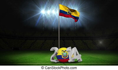 Ecuador national flag waving on football pitch on black...