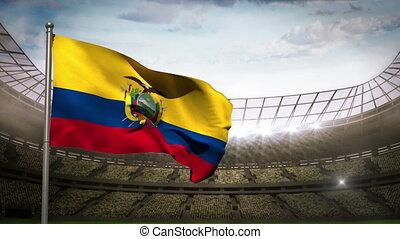 Ecuador national flag waving on sta - Ecuador national flag...