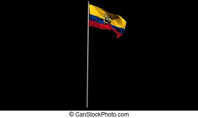 Ecuador national flag waving on flagpole on black background