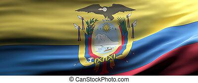 Ecuador national flag waving texture background. 3d illustration