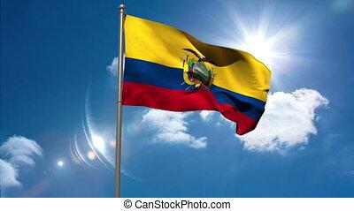 Ecuador national flag waving on flagpole on blue sky...