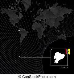 Ecuador on black World Map. Map and flag of Ecuador.