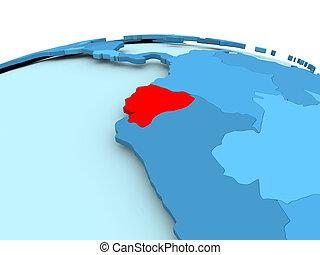 Ecuador on blue political globe Map of ecuador on simple