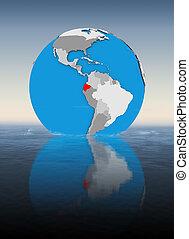 Ecuador on globe in water