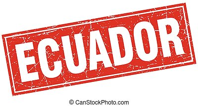 Ecuador red square grunge vintage isolated stamp