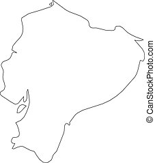 Ecuador - solid black outline border map of country area. Simple flat vector illustration