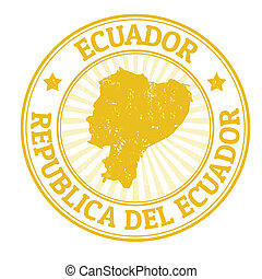 Ecuador stamp - Grunge rubber stamp with the name and map of...