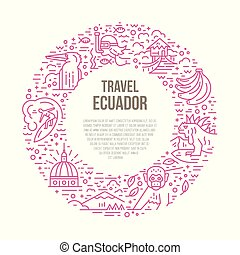 Ecuador Vector Illustration - Line style circle frame with...