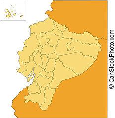 Ecuador, with Administrative Districts and Surrounding Countries