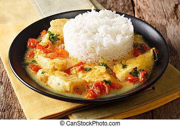 ecuadorian, cuisine:, pescado, encocado, 或者, fish, 由于, 椰子,...