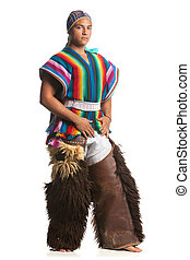 Ecuadorian Dancer Dressed Up In Traditional Costume From The Highlands Llama Or Alpaca Pants Studio Shot Isolated On White