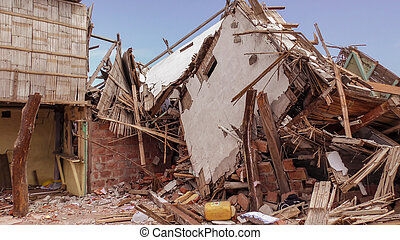 Ecuadorian Village Houses Destroyed By The Earthquake -...