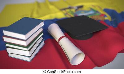 ecuadorianisch, bildung, ekuador, kappe, diplom, animation,...