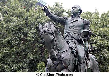 ecuestre, general, washington, estatua, sid, george, sur
